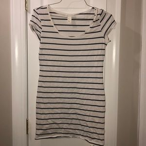 H&M White and Navy Blue Striped T-Shirt Dress